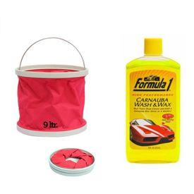 Formula 1 Car Bike Carnauba Wash & Wax Shampoo-473ml+Foldable Water Bucket