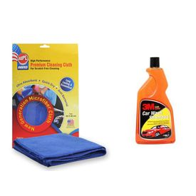 Combo of 3M Car Shampoo(500 ML) + Abro Microfiber Cloth