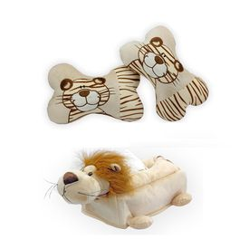 Speedwav Tiger Design Car Seat Neck Cushion+Car Tissue Box Cover Lion-BEIGE
