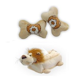 Speedwav Lion Design Car Seat Neck Cushion+Car Tissue Box Cover Lion-BEIGE