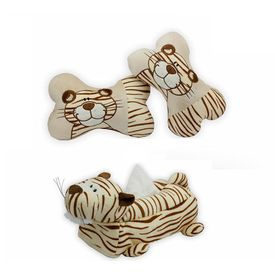 Speedwav Tiger Design Car Seat Neck Cushion+Car Tissue Box Cover Tiger-BEIGE