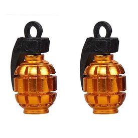 Speedwav Grenade Style Bike Tyre Valve Caps Set Of 2 - Golden