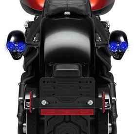 Speedwav BLUE LED BLACK Skull Bike Indicators Assembly Set of 2