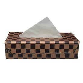 Speedwav Checkered Flag Tissue Box Holder - Brown & Bronze