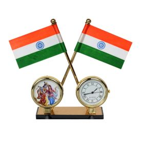 Speedwav 3 in 1 Car Dashboard Indian Flag+ Clock and Radha Krishan God Idol