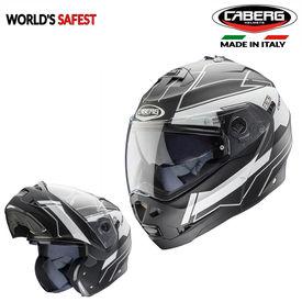 Caberg Duke Gravity Flip-Up Double Visor Modular Helmet Matt Black White
