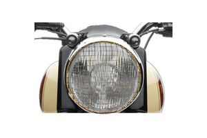Speedwav Mesh Bike Headlight Grill Cover-Golden for Royal Enfield