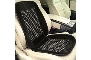 Speedwav Car Wooden Bead Seat Cushion with Grey Velvet Border