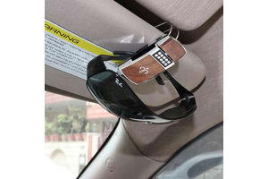 Speedwav Sunglasses and Memo Clip Holder for Car- Brown