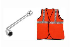 Speedwav 18mm L-Shaped Wheel Nut Spanner+Speedwav Reflective Safety Jacket