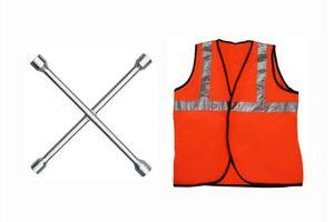 Speedwav 4 Way Car Wheel Screws Wrench/Spanner+Speedwav Reflective Safety Jacket