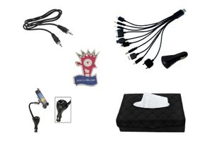 Black Tissue Holder+Mobile Holder+Aux Cable+Jazzy Perfume+10in1 Mobile Charger