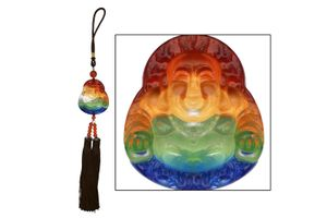 Speedwav Car Hanging Multicolor Crystal Laughing Buddha - Brown