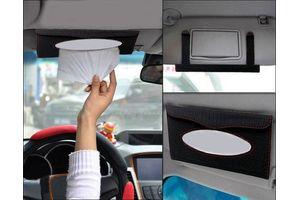 Speedwav Designer Car Roof Sun Visor Tissue Box Holder-Black