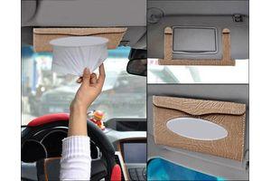 Speedwav Designer Car Roof Sun Visor Tissue Box Holder-Beige