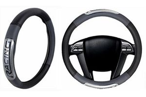 Speedwav Racing Car Steering Wheel Cover-Black & Grey