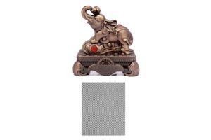 Speedwav Brass Finish Royal Elephant Car Perfume+Dashboard Anti-Slip Mat-Black