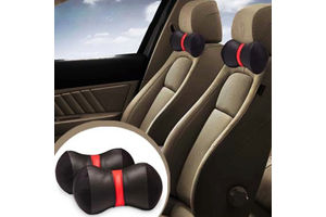 Speedwav Car Neck Pillows Dumble Cushion Set of 2 - Black and Red