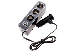 Speedwav In-car Triple Power Socket Adapter with USB Port