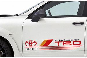 Speedwav Car Door Sporty Stickers Set of 2 Red-TRD Sport