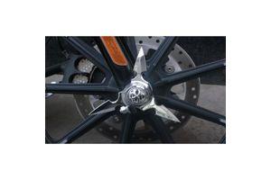 Chrome Skull Spun Blade Spinning Front Axle Cap Set of 2 for Harley Davidson