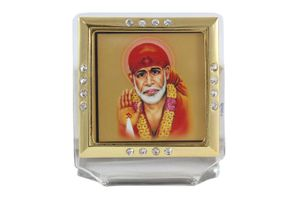 Lord Sai Baba Glass Framed Golden Car Idol with Stand