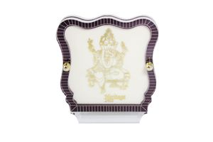 Lord Ganesha 24 Carat Gold Plated Elegant Glass Framed Car Deity Idol