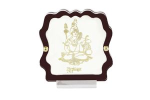 Lord Shiva 24 Carat Gold Plated Elegant Glass Framed Car Deity Idol