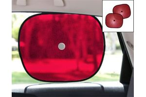 Car Side Window Sunshades Stick On Sun Shade - Set Of 2 Pcs (Red)