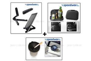 Combo of Speedwav Foldable Portable Tablet Holder+ Car Dining Tray-Black & Portable Ashtray