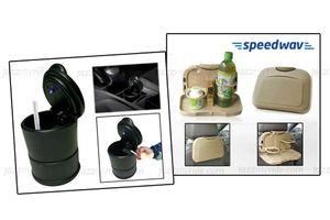 Combo of Speedwav Car Dining Tray-Beige & Ashtray with Blue LED Light
