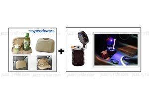 Combo of Speedwav Car Dining Tray-Beige & Portable Ashtray with Blue LED Light (Chocolate Color)