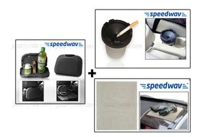 Combo of Speedwav Car Dining Tray-Black+ Anti-Slip Mat-Beige & Portable Ashtray