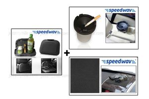 Combo of Speedwav Car Dining Tray-Black+ Anti-Slip Mat-Black & Portable Ashtray