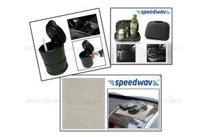 Combo of Speedwav Car Dining Tray-Black+ Anti-Slip Mat-Beige & Ashtray with LED Light