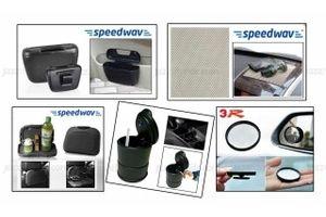 Combo of Speedwav Car Dining Tray-Black+ Anti-Slip Mat-Beige+ 3R Blind Spot Mirror+ Car Trash/Dust Bin & Ashtray with LED Light
