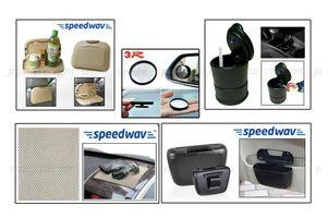 Combo of Speedwav Car Dining Tray-Beige+ Anti-Slip Mat-Beige+ Car Trash/Dust Bin+ Ashtray with Blue LED & 3R Blind Spot Mirror