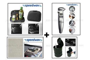 Combo of Speedwav Car Dining Tray-Black+ Cigarette Ashtray+ Anti-Slip Mat-Beige & 4 in 1 Emergency Tool
