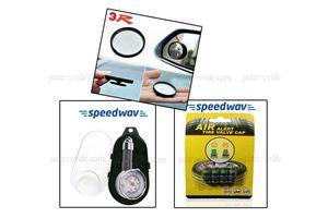 Combo of 3R Blind Spot Mirror+ Speedwav Tyre Gauge & Tyre Pressure Indicator Valve caps