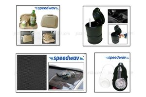 Combo of Speedwav Car Dining Tray Beige+ Anti-Slip Mat-Black+ Ashtray with LED light+ Tyre Gauge