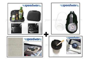 Combo of Speedwav Car-Dining Tray-Black+ Anti-Slip Mat-Beige+ Cigarette Ashtray+ Tyre Gauge