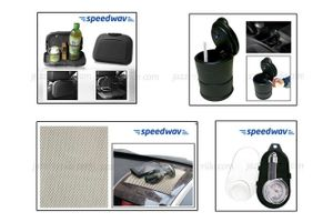 Combo of Speedwav Car-Dining Tray-Black+ Anti-Slip Mat-Beige+ Ashtray with LED light+ Tyre Gauge