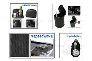 Combo of Speedwav Car-Dining Tray-Black+ Anti-Slip Mat Black+ Ashtray with LED light+ Tyre Gauge