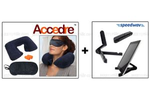 Combo of Foldable Portable Tablet Holder & Accedre Travel Kit