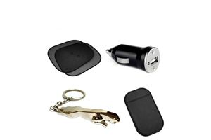 Combo- Car Window Sunshade (Set of 2) + Jaguar Keychain + Anti Slip Mat + USB Car Charger