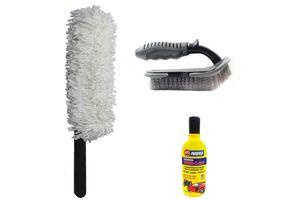 Speedwav Car Cleaning Kit Long Microfiber Duster+Mats/Tyre Brush+Shampoo