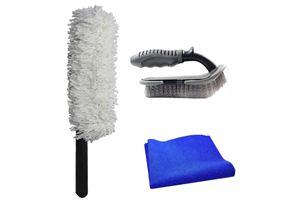Speedwav Car Cleaning Kit Long Microfiber Duster+Cloth+Mats/Tyre Brush