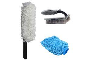 Speedwav Car Cleaning Kit Long Microfiber Duster + Glove + Mats/Tyre Brush