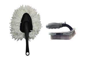 Speedwav Car Cleaning Kit Small Microfiber Duster + Floor Mats/Tyre Brush