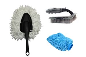 Speedwav Car Cleaning Kit Small Microfiber Duster+ Glove + Mats/Tyre Brush
